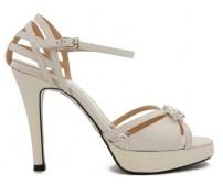 Phillipa Ivory White Buckle Wedding Sandals
