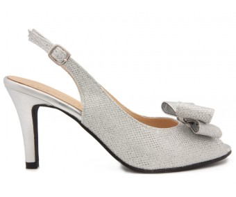 Aurora  Silver  Glitter Bow Wedding Shoes
