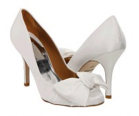 Michelle Ivory White Satin Bow Wedding Shoes