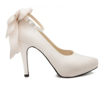 Arlenne Ivory White Satin Bow Wedding Shoes