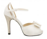 Bethany Ivory White Satin Bow Wedding Shoes