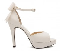 Carolyn Ivory White Bow Wedding Sandals