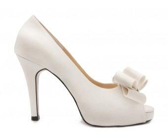Deidre Ivory White Satin Bow Wedding Shoes