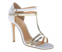 Oriana Ivory White, Silver and Gold Contrast Wedding Sandals