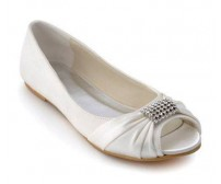 Dina Ivory White Silk Brooch Wedding Flats