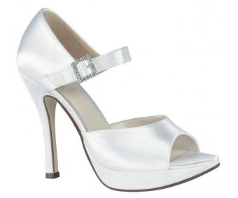 Calista Ivory White Silk Wedding Shoes