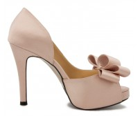 Becca Nude Pink Satin Bow Wedding Shoes