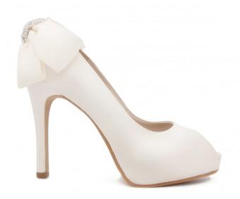Danette Ivory White Back Satin Bow Wedding Shoes