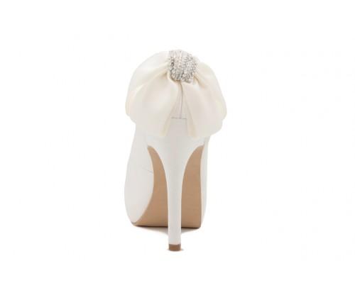 39717b62ab3b Danette Ivory White Back Satin Bow Wedding Shoes