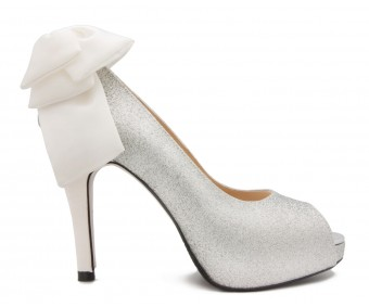 Alayna Silver Glitter Bow Contrast Wedding Shoes