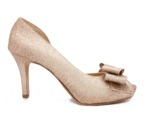c5fac40f64d3 Danika Gold Glitter Bow Wedding Shoes