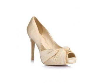 Ethel Champagne Satin Wedding Shoes