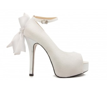 Kayleigh Ivory White Lace Satin Bow Wedding Shoes