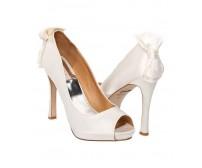 Wendy Ivory White Satin Bow Wedding Shoes