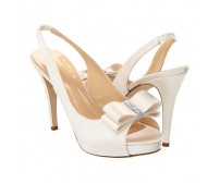 Jocelyn Ivory White Bow Wedding Sandals
