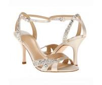 Renee Champagne Satin Glitter Wedding Sandals
