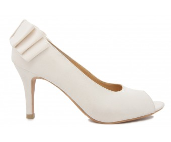 Hilary Ivory White Satin Bow Wedding Shoes