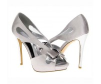 Rozetta Grey Satin Bow Wedding Shoes