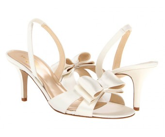 Kara Ivory White Bow Wedding Sandals