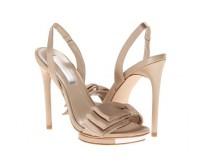 Heidi Champagne Satin Bow Wedding Sandals