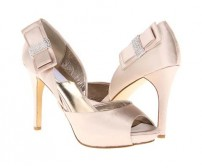 Loren Champagne Satin With Bow Wedding Shoes