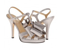 Veronica Grey Silk Bow Wedding Sandals