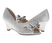 Karena Silver Bow Wedding Shoes