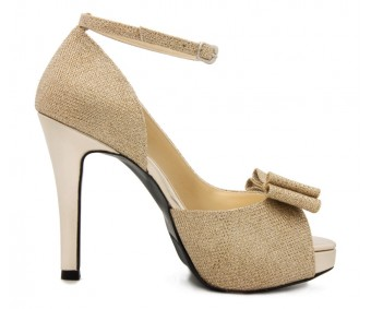 Briella Gold Glitter Bow Wedding Shoes