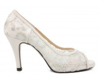 Belle Ivory White Satin Lace Wedding Shoes