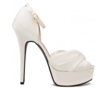 * Naomi Ivory White Satin Wedding Shoes