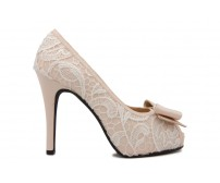 Jacey  White Lace And Silk Wedding Shoes