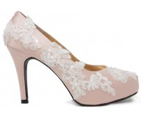 Olivia Nude Pink Satin With White Lace Wedding Shoes