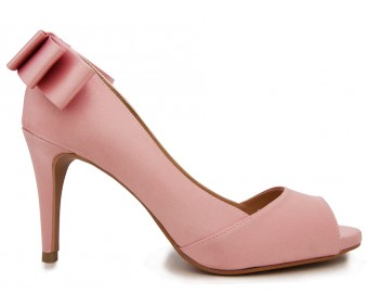 Nicole Pink Silk Bow Dinner Shoes (Ready Stock)