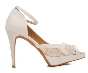 z Alyssa Ivory White Satin With Lace Wedding Shoes(Ready Stock)