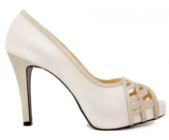 Anisa Ivory White Satin Wedding Shoes