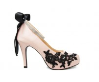 * Bebe Black Lace Diamante Wedding Shoes