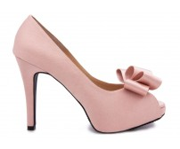 z(Sold out, custom made is available)Deidre Nude Pink Satin Wedding Shoes(Ready Stock)