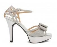 Phillipa Silver Glitter Bow Wedding Sandals