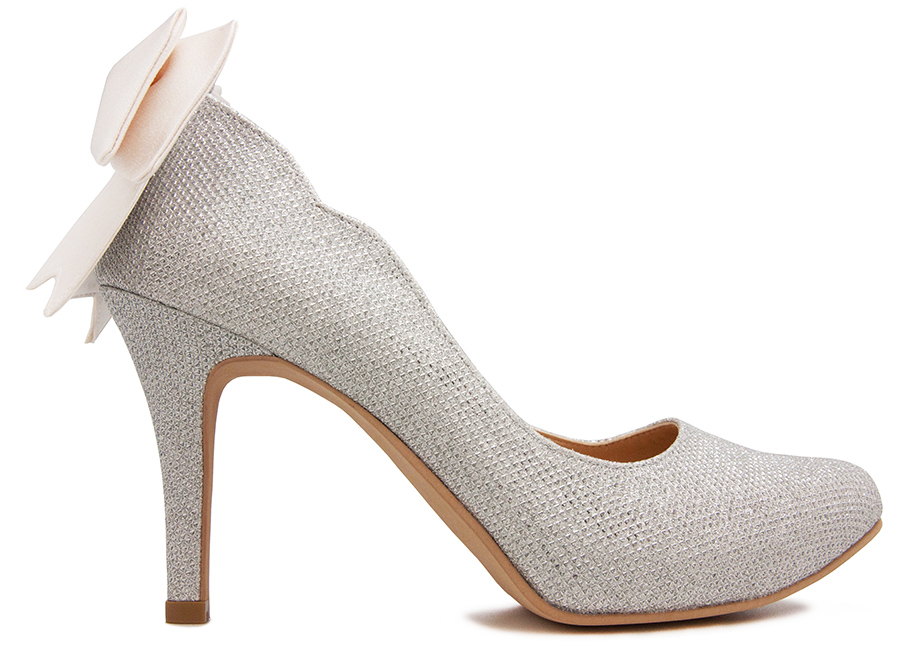 76942f734a03 Lorraine Silver Glitter With Ivory White Satin Bow Wedding Shoes