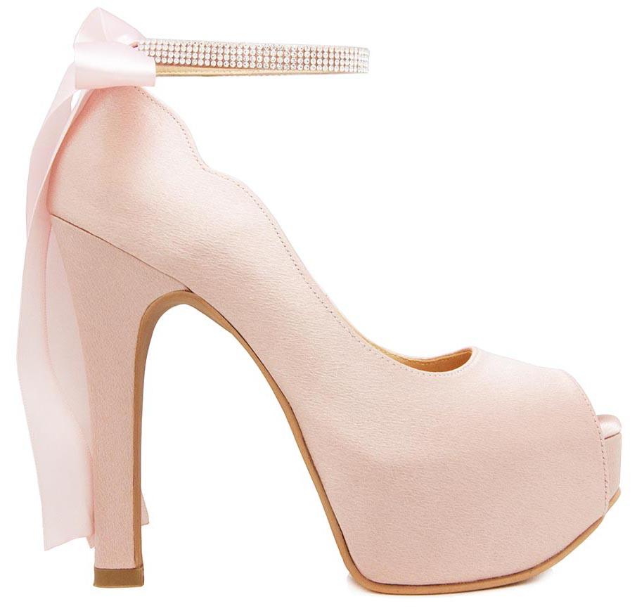 eeb106baf3f1 Freya Nude Pink Satin Back Bow Wedding Shoes