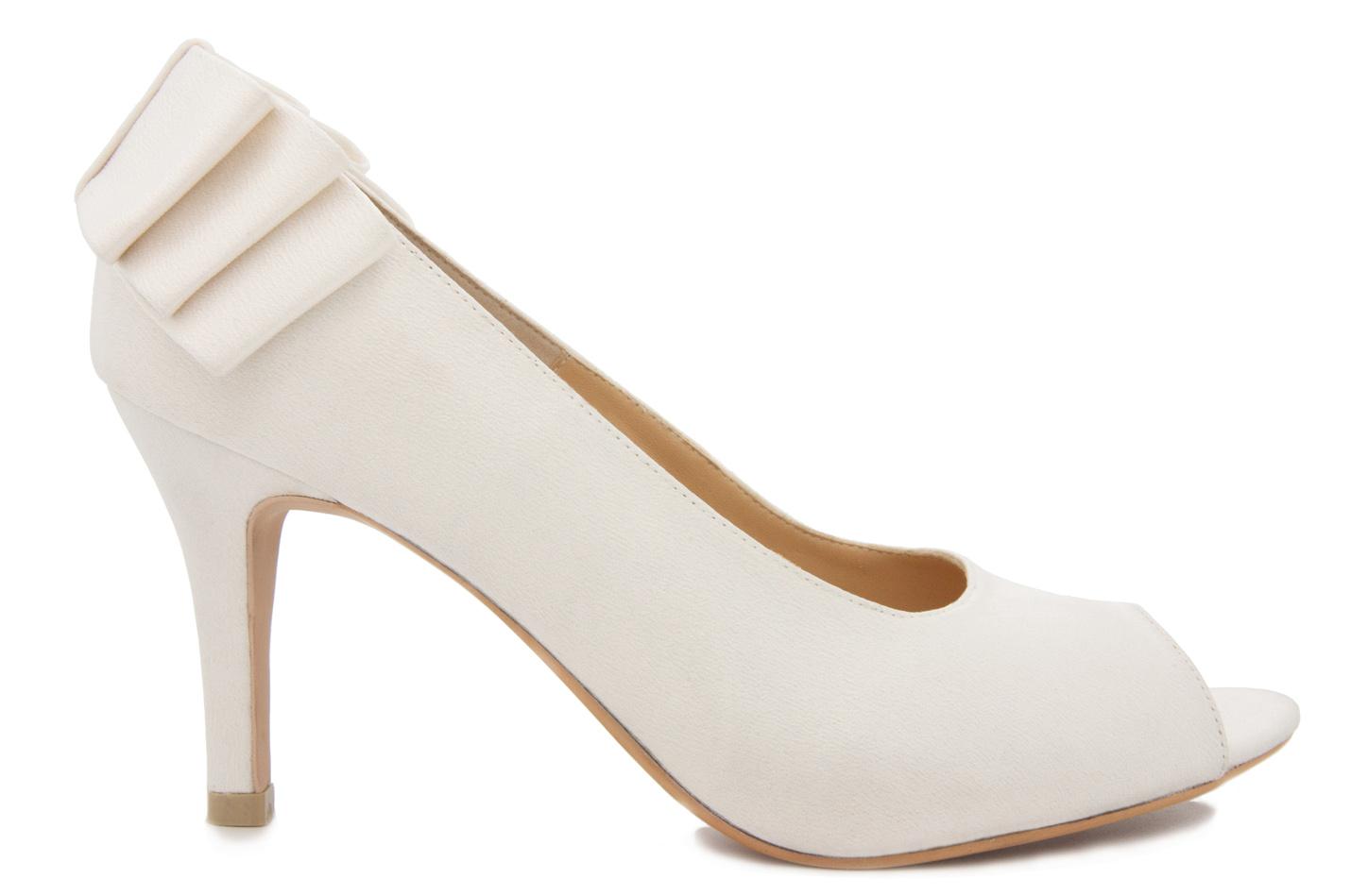 80256dfde1a4 Hilary Ivory White Satin Bow Wedding Shoes